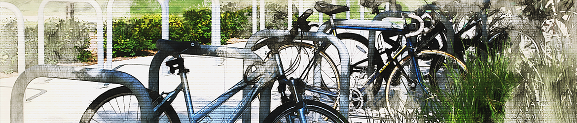 Bike Parking in Water Color