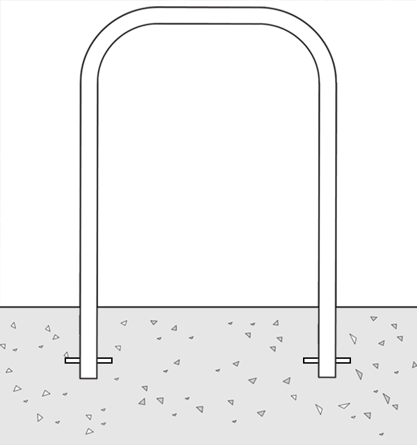 Drawing of a Bike Rack Installed with an In Ground Mount