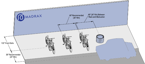 Recommended layout for perpendicular bike parking