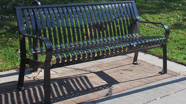 Black Backed Metal Bench