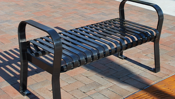 Black Flat Metal Bench